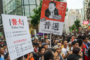 People demanding for universal suffrage.
