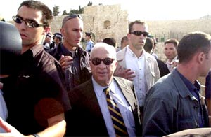 History in motion: The visit of Ariel Sharon, the then-leader of the Israeli opposition, to the Temple Mount, in Jerusalem is considered to be the spark of the Second Intifada. Image.