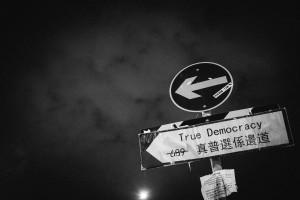 "Translation: ""Where's true democracy?"" (Common Flickr by Gareth Kwok)"