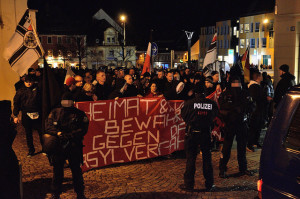 Police monitor a far-right anti-refugee protest in Bautzen, Saxony. Photo credit: Caruso Pinguin, Flickr Creative Commons.