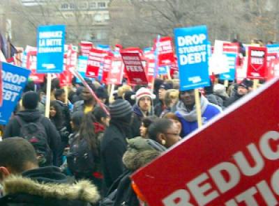 Student protests over tuition fees at University of Toronto in 2012