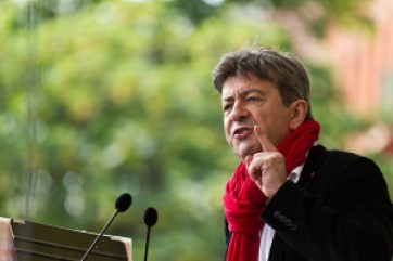 "Jean-Luc Mélenchon, leader of the extreme-left party that he founded in February 2016, ""La France Insoumise"". Source: http://bit.ly/2frYcMS"