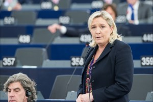 Marine Le Pen, leader of the right-nationalist Front National (FN), who is likely to make it to the runoff round. https://flic.kr/p/B3wMRC