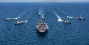 Aircraft carriers like these have been stationed near the Korean peninsula. https://flic.kr/p/UgaCw4