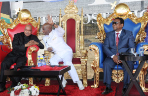 Jacob Zuma, Apostle Simon Mokoena, and Zulu King Goodwill Zelithini ka Bhekuzulu - seated like royalty - at the Annual Sons of Zion Conference of Tyrannus Apostolic Church. https://flic.kr/p/dCCw99