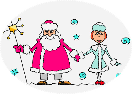 Portret Santa Claus i Snow Maiden - konkurencja noworoczna z świata pozytywnego.