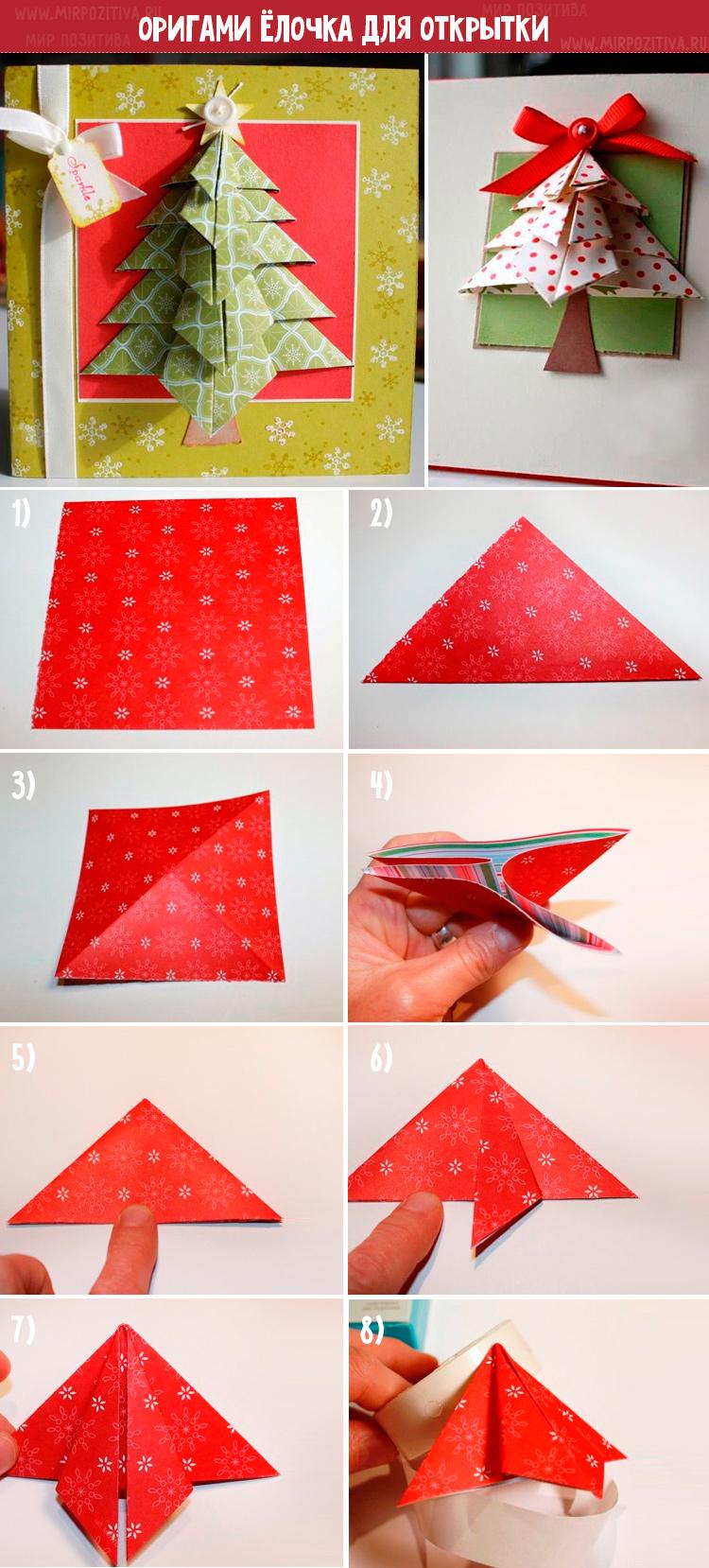 Origami vánoční strom pro pohlednici