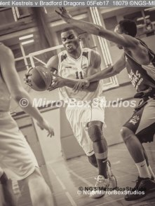 Solent Kestrels NBL Division 1 - 5 February, 2017 - Fleming Park Leisure Cent. : Stephen Danso (11) finding a way through the Bradford Dragons defence. (Photo by NGS/MirrorBoxStudios)