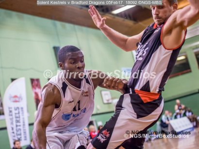 "Solent Kestrels NBL Division 1 - 5 February, 2017 - Fleming Park Leisure Cent. : Stephen Danso (11) called for a ""charging foul"" during match against Bradford Dragons (Photo by NGS/MirrorBoxStudios)"