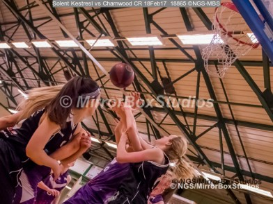 WNBL Division 1 - 18 February, 2017 - St Marys Leisure Cent. : Lots of arms during match between Solent Kestrels Women and Charnwood CR (Photo by NGS/MirrorBoxStudios)