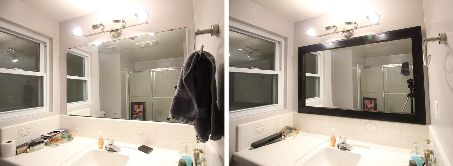 Bathroom mirror framing kits - Before And After Photo Of The Hudson Bathroom Mirror Frame Kit Applied In Espresso Color