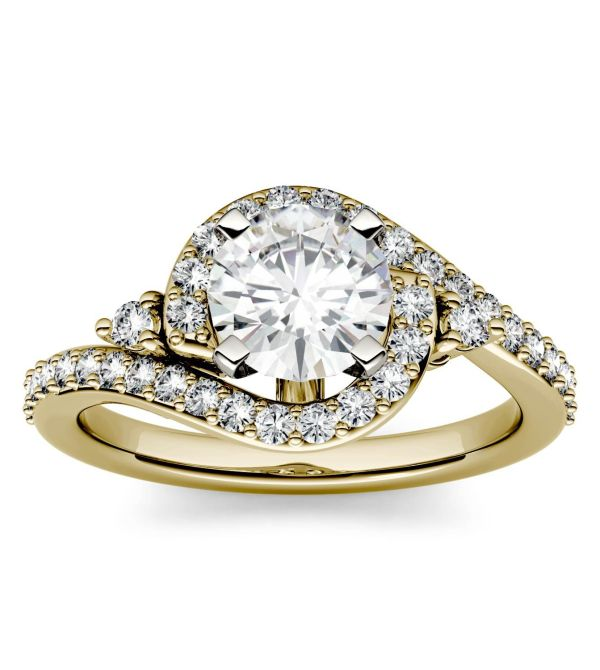 Forever One 2 5CTW Emerald Colorless Moissanite Halo with