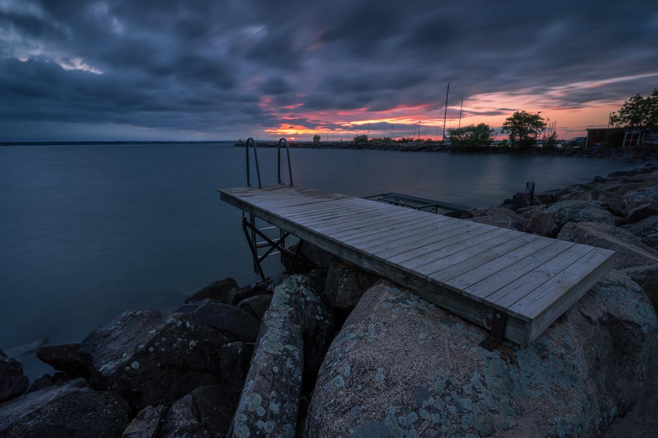 Foto eines Stegs in Schweden am Vättern.