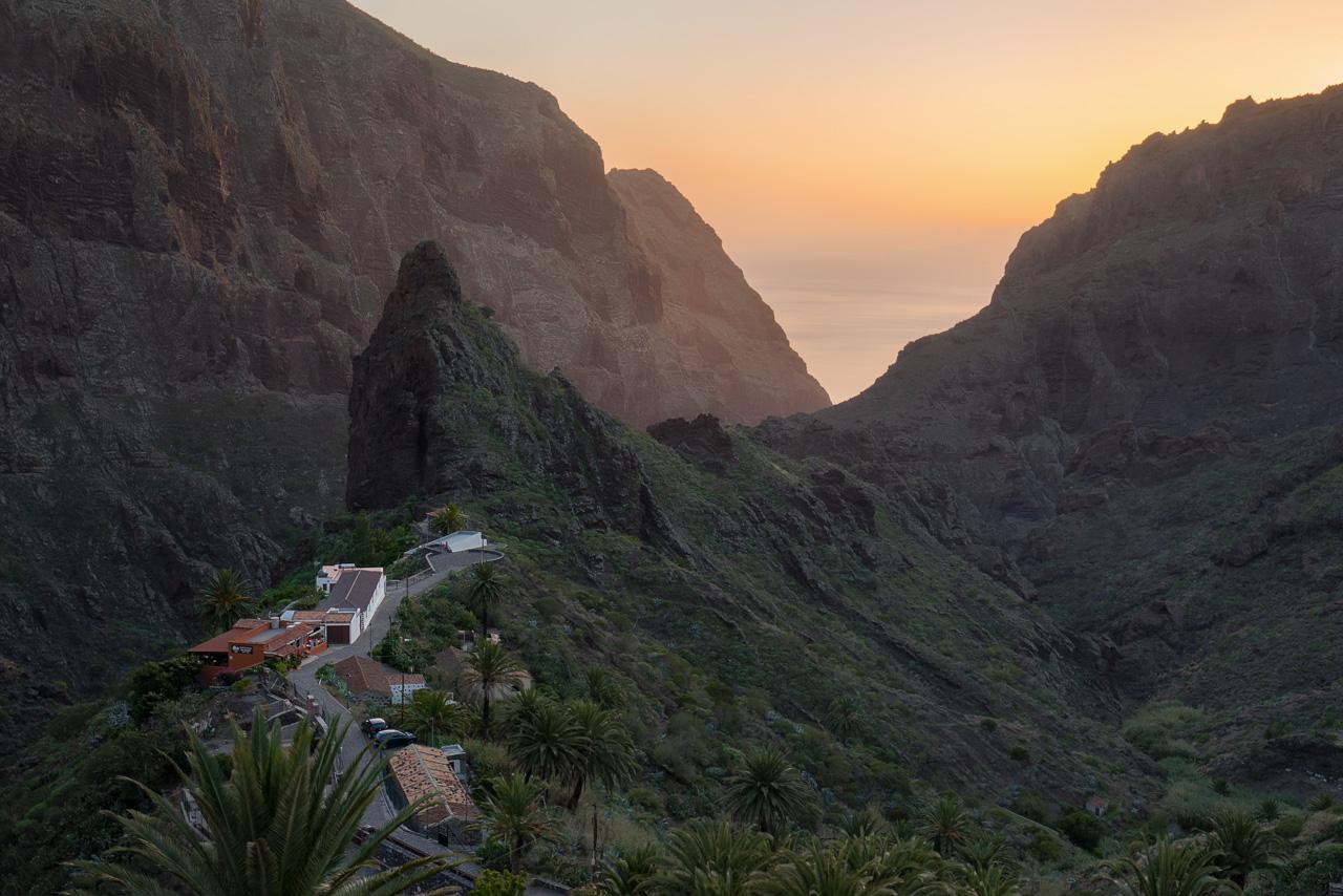 Masca auf Teneriffa zum Sonnenuntergang