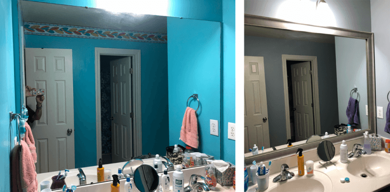 Before and after bathroom mirror frame