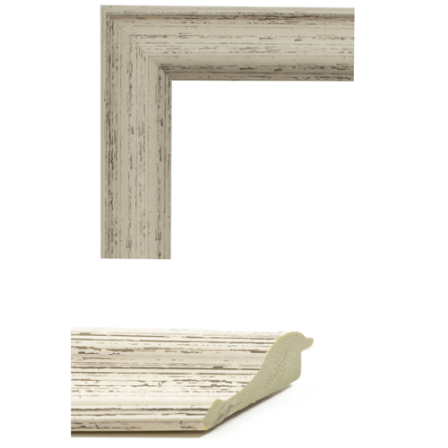 4023 Rustic White Mirror Frame Sample
