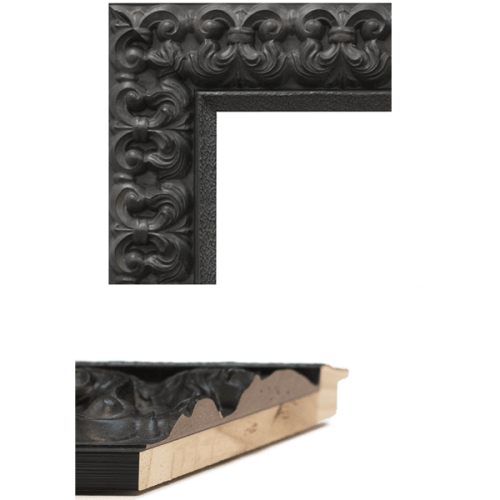 4101 Black Fleur De Lis Mirror Frame Sample