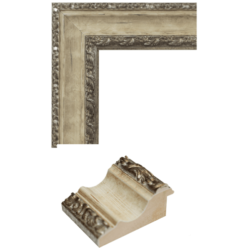4109 Ivory & Silver Mirror Frame Sample