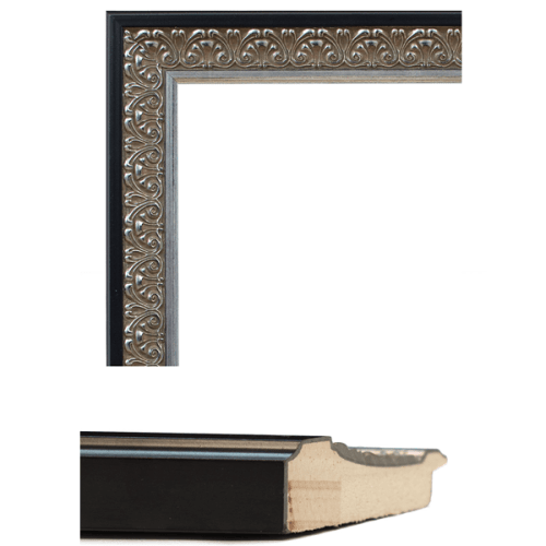 4054 Antique Silver Black Mirror Frame Sample