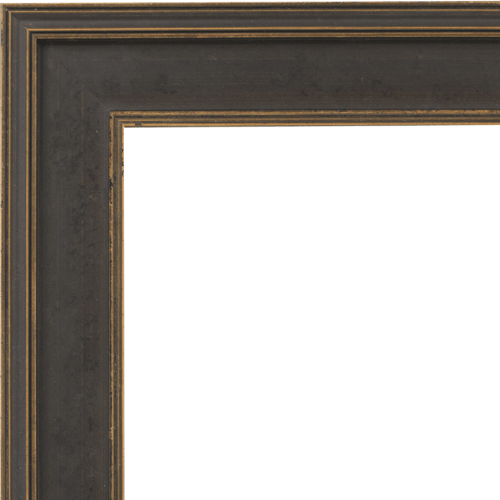 4106 Black & Gold Flat Mirror Frame