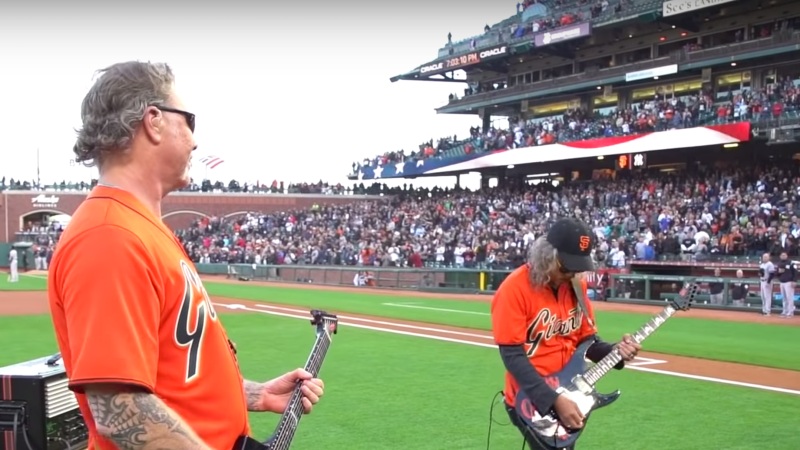Metallica Throws First Pitch and Plays National Anthem at San Fransisco Giants Game