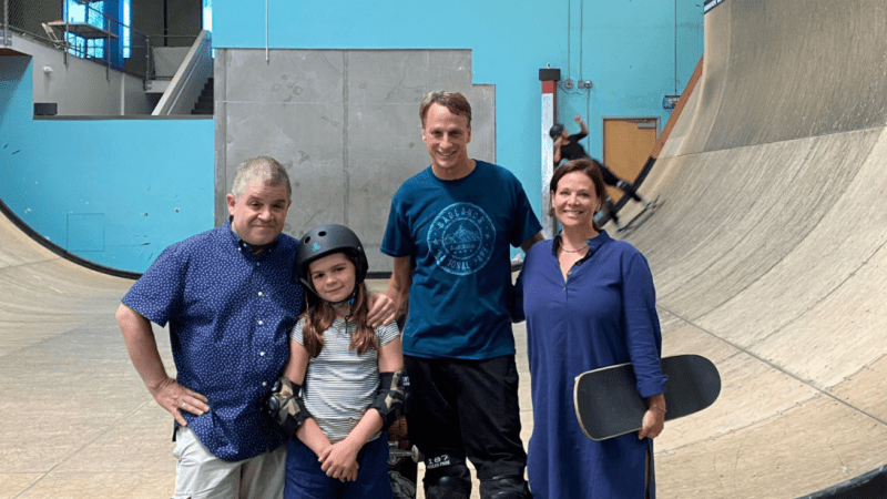 Tony Hawk Gives Actor Patton Oswalt's Daughter a Skateboarding Lesson