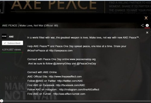 Screen shot of Axe.com Kiss for Peace Message