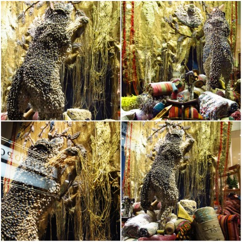 Weekly Photo Challenge: FRAY - A window display collage of a wolf shredding the curtains