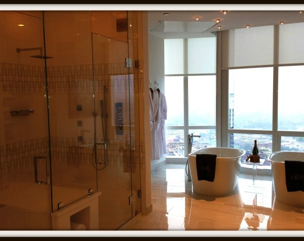 Photo 101-Week 4: From Treasure To Triumph! - Glass w/ water: Glass and more glass in luxury bathroom