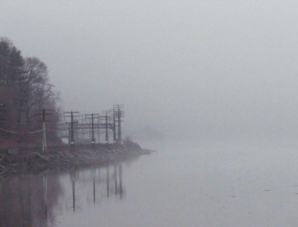 Weekly Photo Challenge: Minimalist -  foggy river and train-tracksl