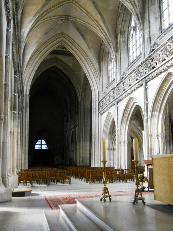 Weekly Photo Challenge: Shadowed  - Cathedral in Caen in light and shadow.