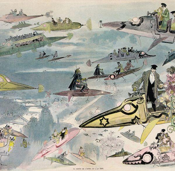 Writing 201: The Landscape Of Our Future - La Sortie de l'opéra en l'an 2000 by Albert Robida