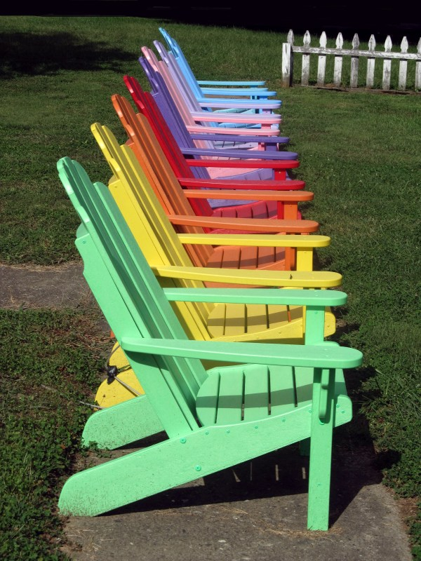 Weekly Photo Challenge: Rainbow Colors - Adirondack Chairs in ROYVBIV