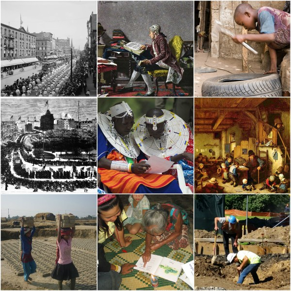 Motivation Mondays: Labor & Literacy - collage of Labor & Literacy photos