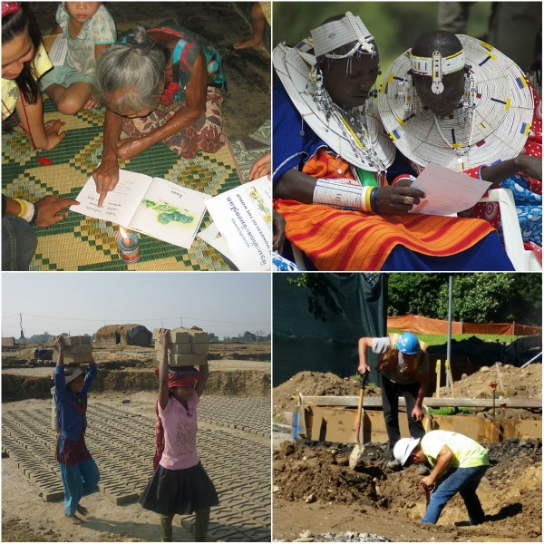otivation Mondays: Labor & Literacy - collage of Labor & Literacy photos