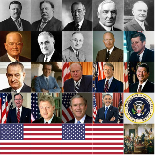 Motivation Mondays: Presidents' Day - Remaining 19 USA Presidents, Flag and Signing of Constitution painting Collage