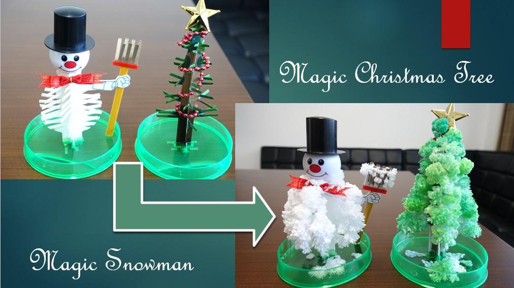 マジッククリスマスツリーとスノーマンのモコモコ成長記録