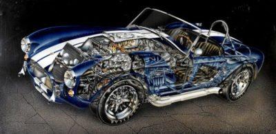 Ішкі мәліметтері бар классикалық автомобиль