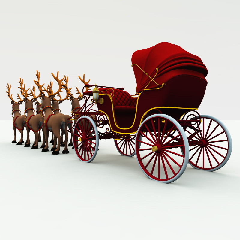 Christmas Phaeton Buggy Carriage 3d Model