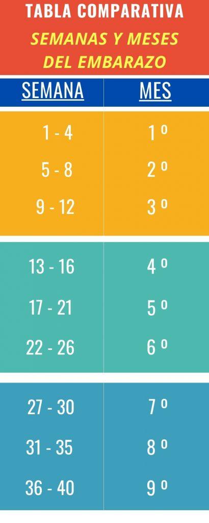 tabla comparativa semanas y meses del embarazo