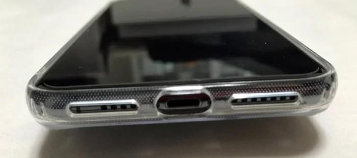背面ガラスのiPhonexsmaxケーススピーカー部分