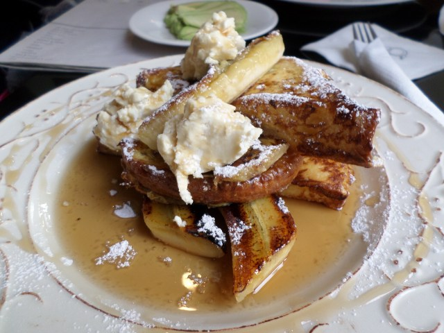 The french toast with grilled banana at Flying Pan Blue... heaven.