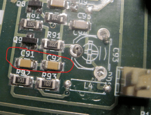 These are the capacitors to remove, c91 and c92 and use the bitx40 on upper sideband