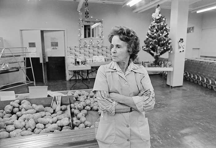 Store owner Ocean Falls 1980