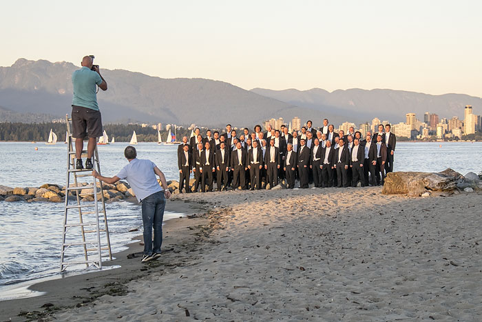 Mens choir on Jericho Beach