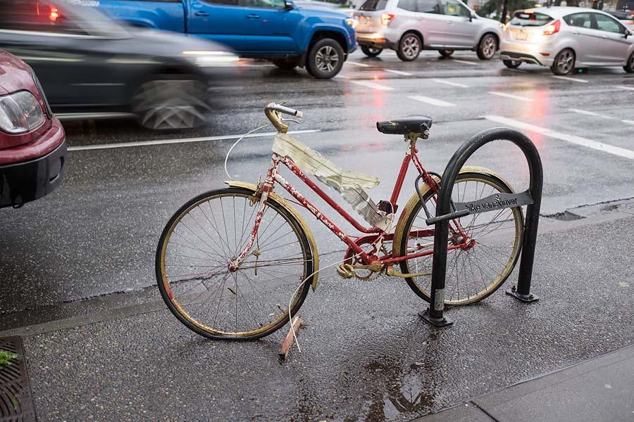 Locked bicycle on Main Street.
