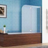 Badewannenabtrennung 2-teilig faltbar sicherheitsglas 180 Grad schwenkbar
