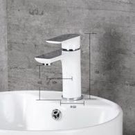 Mischbatterie Waschtisch Bad Homelody weiß/chrom Luftsprudler H59A-Messing