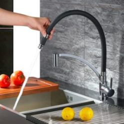 Mischbatterie Küche in Schwarz/Chrom und hoher Auslauf, schwenkbar, 50 cm Schlauch, edles Design, hochwertig verarbeitet