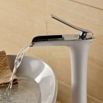 Hiendure Waschtischarmatur Weiß Chrom Wasserfall hoch